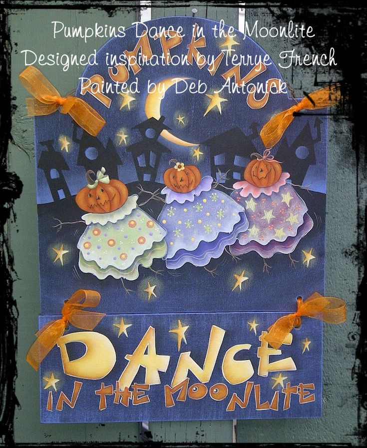 Pumpkins Dance in the Moonlite, Deb Antonick, email pattern packet by PaintingWithFriends on Etsy