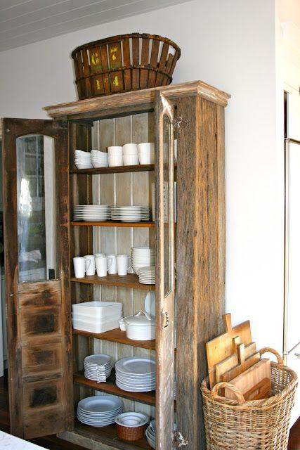 old cabinet repurposed as storage