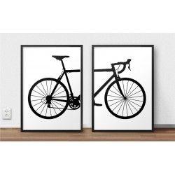 Zestaw dwóch plakatów z rowerem szosowym do oprawienia w ramy i do powieszenia na ścianę