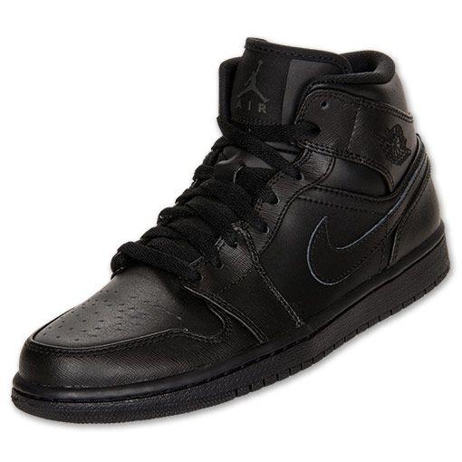 Mens Air Jordan 1 Mid Basketball Shoes | FinishLine.com | Black/Black/Black  | Shoes I Want to Cop | Pinterest | Air jordan