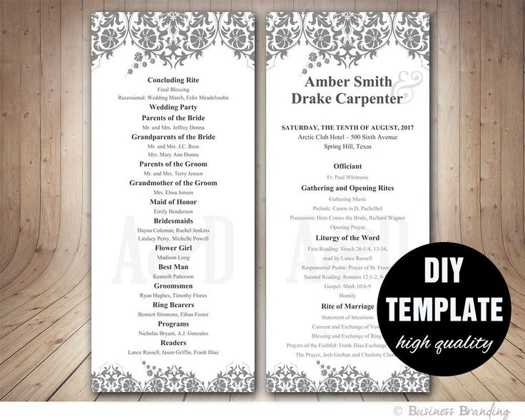 Diy wedding program template hakkında Pinterestu0027teki en iyi 20+ fikir - wedding program template
