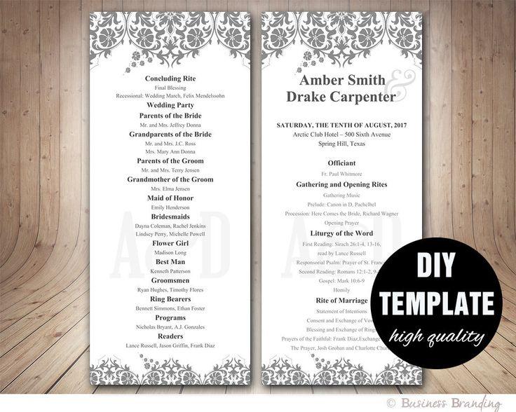 Diy wedding program template hakkında Pinterestu0027teki en iyi 20+ fikir - wedding program template