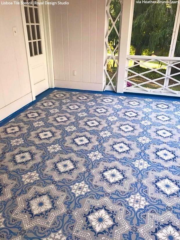 18 Budget Friendly Ways To Stencil Your Patio Floor Painted Patio Paint Concrete Patio Patio Flooring
