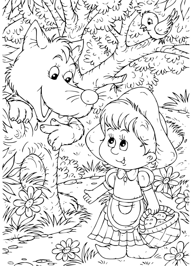 Little Red Riding Hood coloring page. I would use these for early arrivals & additional party favors.