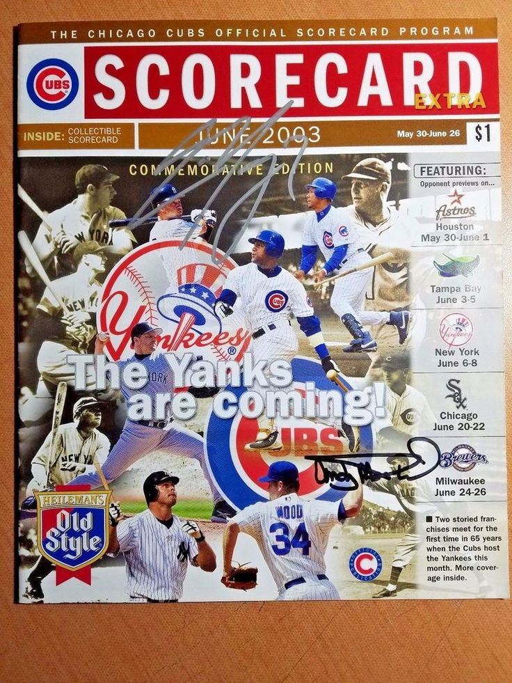 Chicago Cubs 2003 Scorecard Program ANDY MacPHAIL & Eric Young SIGNED AUTOGRAPH #ChicagoCubs