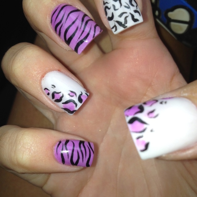 Purpler zebra acrylic nails