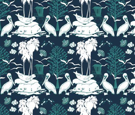 La Jolla Damask Navy fabric by limezinniasdesign on Spoonflower - custom fabric