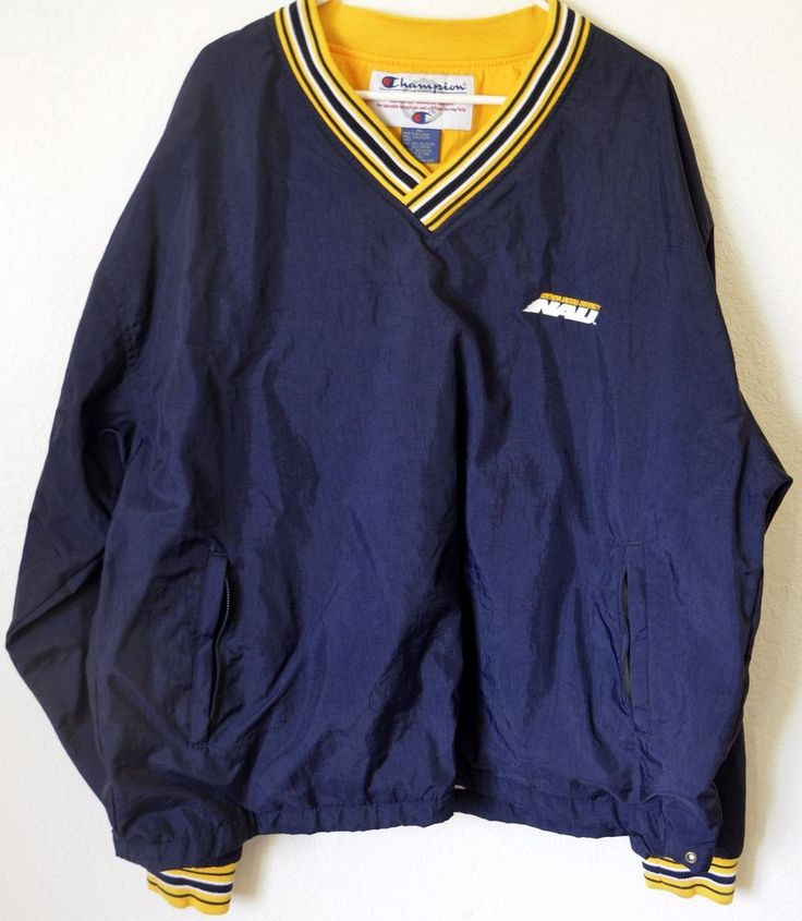 NAU Jacket XL Northern Arizona University Champion VTG Pullover Blue Nylon #Champion #NorthernArizonaLumberjacks