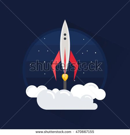 Color full Rocket logo template. Vector illustration modern flat and line style