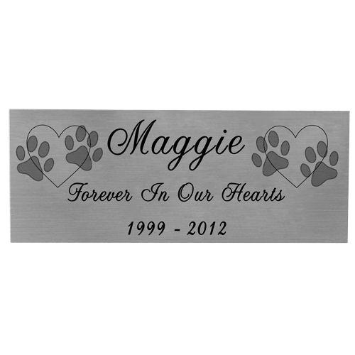 Engraved Pet Memorial Plaque- Small Silver Finish Black Fill