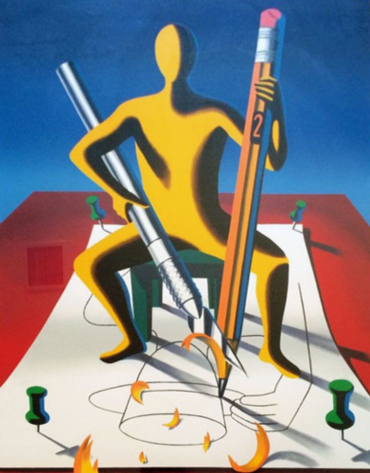Careful With That Axe Eugene 2001 by Mark Kostabi - Serigraph