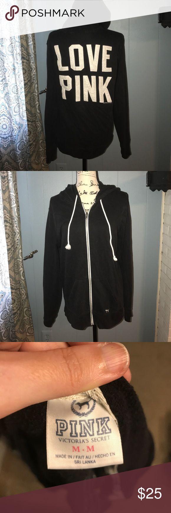 VS PINK ZIP UP BLACK/WHITE HOODIE size medium- black and white zip up hoodie PINK Victoria's Secret Tops Sweatshirts & Hoodies