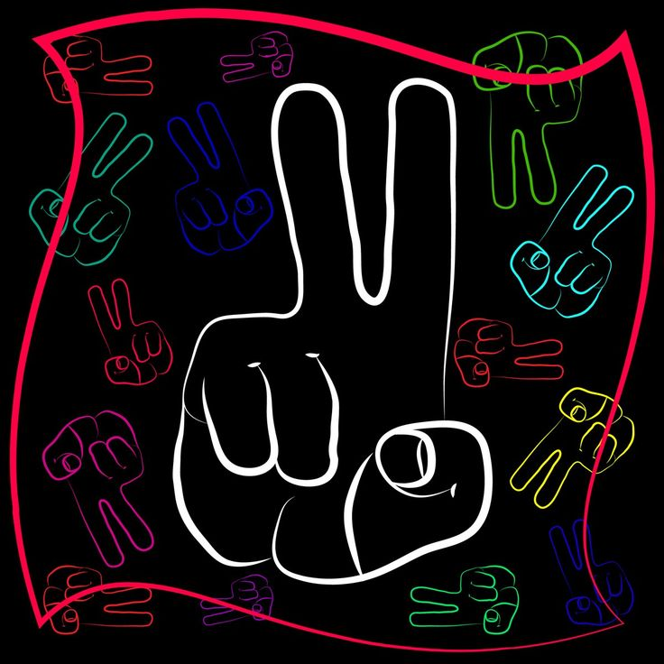 The gesture of the hand with outstretched with two fingers. Symbol gesture victory in different design and color scheme.  Grachyhamr
