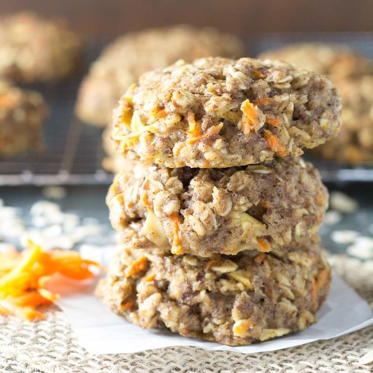 Thick, soft Carrot Cake Breakfast Cookies are a healthy make ahead breakfast or snack. Whole grain, refined sugar free, freezer friendly, gluten free option