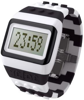 Reloj digital Lego, Correa de silicona blanca y negra con piezas intercambiables, calendario, mensaje personalizable. http://www.tutunca.es/reloj-lego-blanco-y-negro