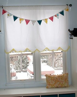 cute window shade -- made from sheets, liked the bottom for Lily's room?: Thrift Window, Diy'S, Window Shades, Window Treatments, Windows, Refrigerator,  Icebox