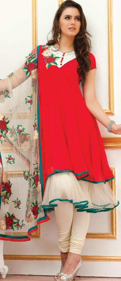 $131.76 Red Short Sleeve Faux Georgette and Net Knee Length Anarkali Salwar Kameez 19453