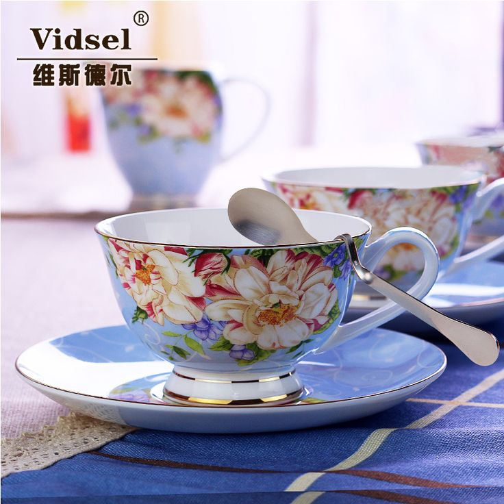 2015 Promotion Time limited 2 Miland Spring!! British Style Luxury Tea Coffee Cup Set Bone Three piece Ceramic Pigmented Cups -in Coffee & Tea Sets from Home & Garden on Aliexpress.com | Alibaba Group