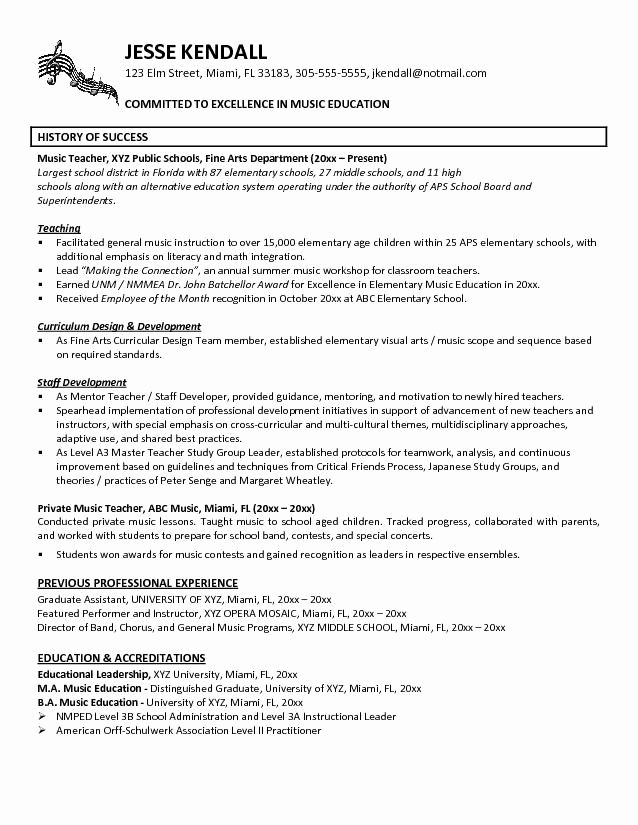 Student Teacher Resume Example Unique Music Teacher Resume Example In 2020 Teacher Resume Examples Elementary School Teacher Resume Elementary Teacher Resume