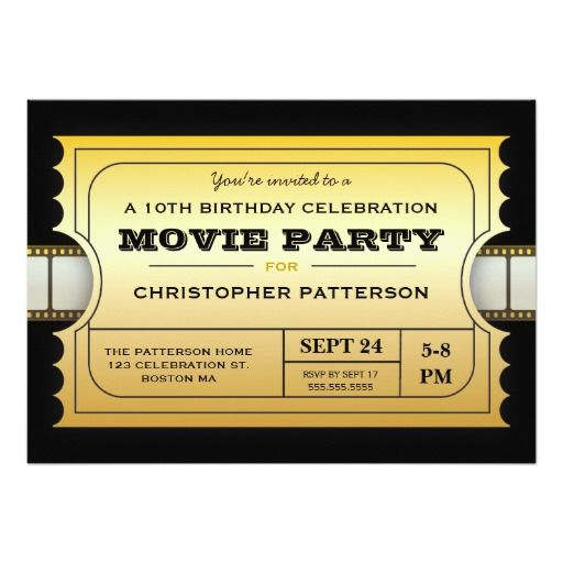 How to movie party birthday party admission gold ticket for Where can i buy party invitations