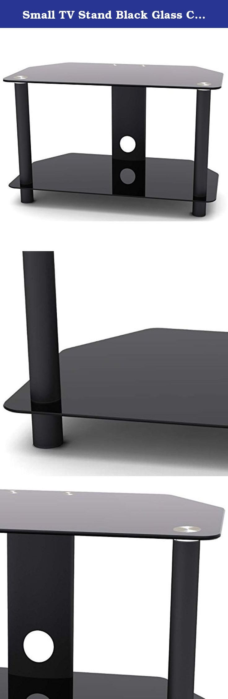 Small TV Stand Black Glass Console - Fits Up to 32 Inch Television - Best Addition to Your Living Room Entertainment Media Furniture. The modern, small TV stand is made with highly durable powder coated steel and tempered glass. Boasting a sleek style and a modern appeal, this black glass TV stand will provide you with everything you need to create a stylish entertainment area in your living room, guest room, basement or even the bedroom.