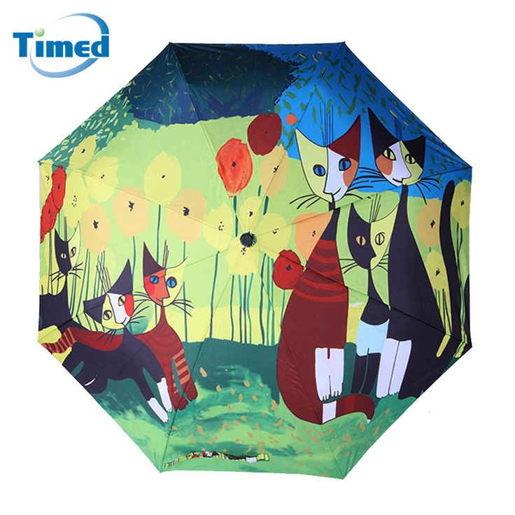 2017 New Fashion Cute Cat Three-folding Woman's Non-automatic Umbrella High Quality Windproof Strong Umbrellas #Affiliate