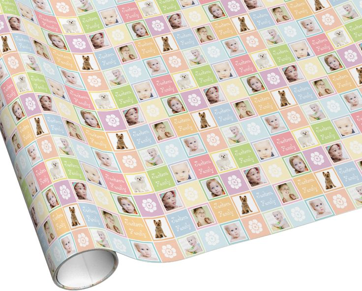 Add family name and photos pastel checkboard gift wrapping paper