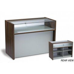 Walnut shop display counters and storage unit