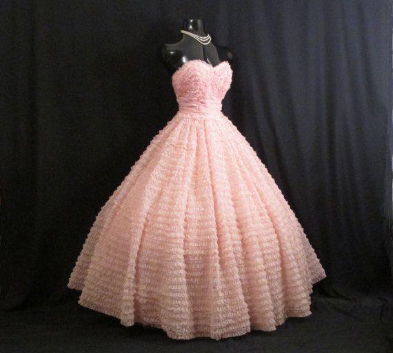 Vintage des années 1950 50 s Bombshell rose sans par VintageVortex