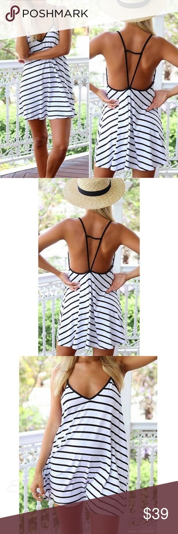 Cool Stripes loose V-neck dress/ Cover up This dress can be used as a great summer dress for fun in the sun or as a cover up on the beach! I have one for my summer wardrobe and love it. Great new addition to my boutique line that I just started past week. Hope you all enjoy this item. Happy Poshing! Boutique Dresses