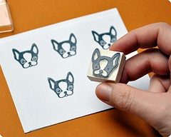 bouledogue hand carved rubber stamp