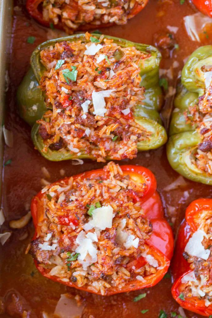 Stuffed Peppers With Beef Rice Tomato Sauce Onions And Garlic With Italian Seasoning And Parmesan Cheese Stuffed Stuffed Peppers Peppers Recipes Recipes