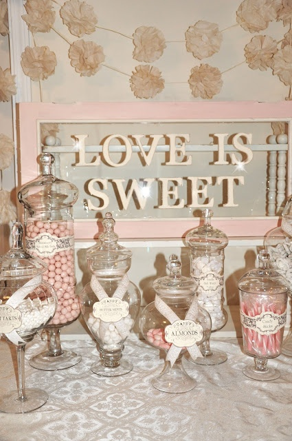 """Love is Sweet"" candy buffet!! Cute sizes & little labels! love the pink & white!! * also use white pretzels!!"