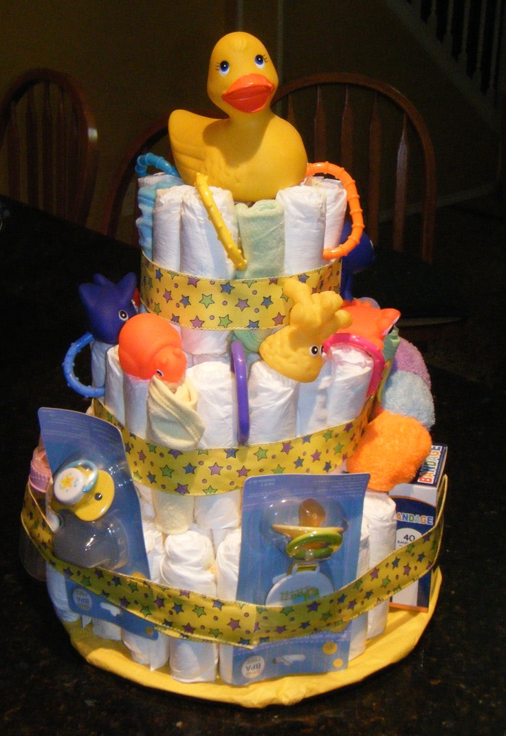 Here Is My First Attempt At A Diaper Cake I Was Surprised How Easy It Really Was To Make It Took Me A Little More Than An Hour Amber Baby