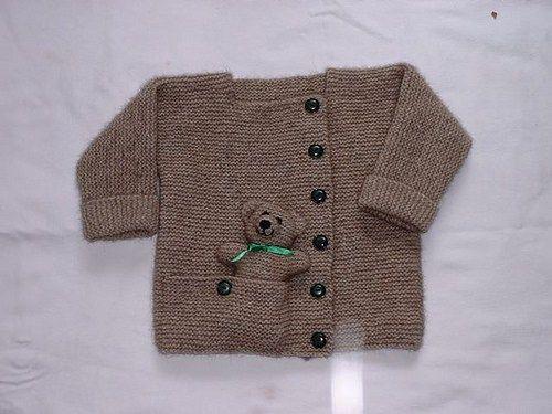 Child's Cardigan with Pocket Teddy Bear Knitting Pattern | Favorite Bear Knitting Patterns including Teddy Bears, Paddington Bear, Koala Bear - many free patterns