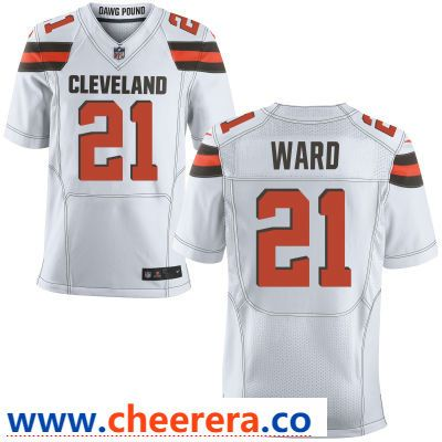 Men s Cleveland Browns  21 Denzel Ward White Road Stitched NFL Nike Elite  Jersey 65673d7da