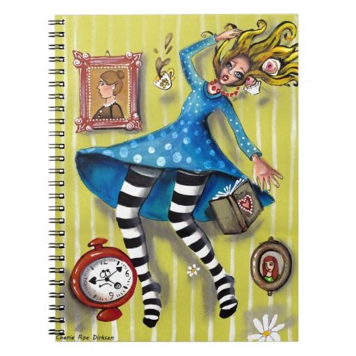 Great gift ideas --- Alice Down the Rabbit Hole Spiral Note Books