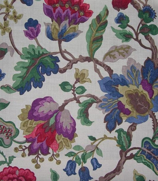 Amanpuri Linen Fabric Printed floral in purple, blue and green on stone linen