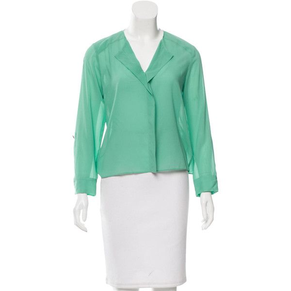 Pre-owned Alice + Olivia Long Sleeve Silk Blouse ($65) ❤ liked on Polyvore featuring tops, blouses, green, green long sleeve top, long sleeve tops, v neck long sleeve top, green blouse and silk v neck top