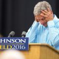 Libertarian presidential candidate Gary Johnson reacts as his microphone stops working during a campaign rally, Saturday, Sept. 3, 2016, at Grand View University in Des Moines, Iowa. (AP Photo/Scott Morgan)