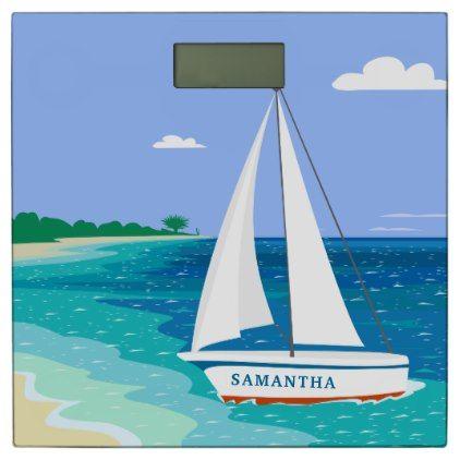 #Monogram Sailboat Tropical Beach Bathroom Scale - #Bathroom #Accessories #home #living