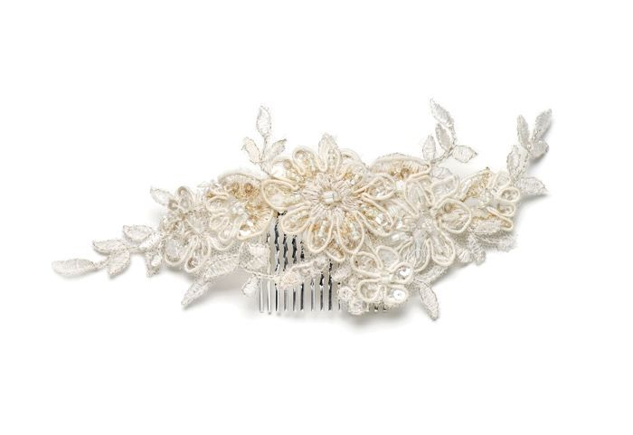 Holly Young Hats Boutique » 'Lerryn' Champagne lace hair vine#hairvine #lace #bohobride #boho #wedding #hair #halfup #halfdown #countrywedding #cornwall #headpiece #headpieces #vine #blossom #weddinginspo