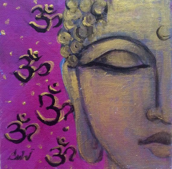 Golden Buddha with Aum symbol on magenta purplish background  original painting on canvas panel  6 x 6  Painting done in professional quality acrylic