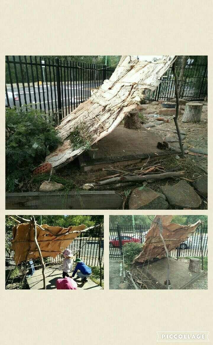 Humpy/gunya using natural materials. Sticks, paperbark and twine