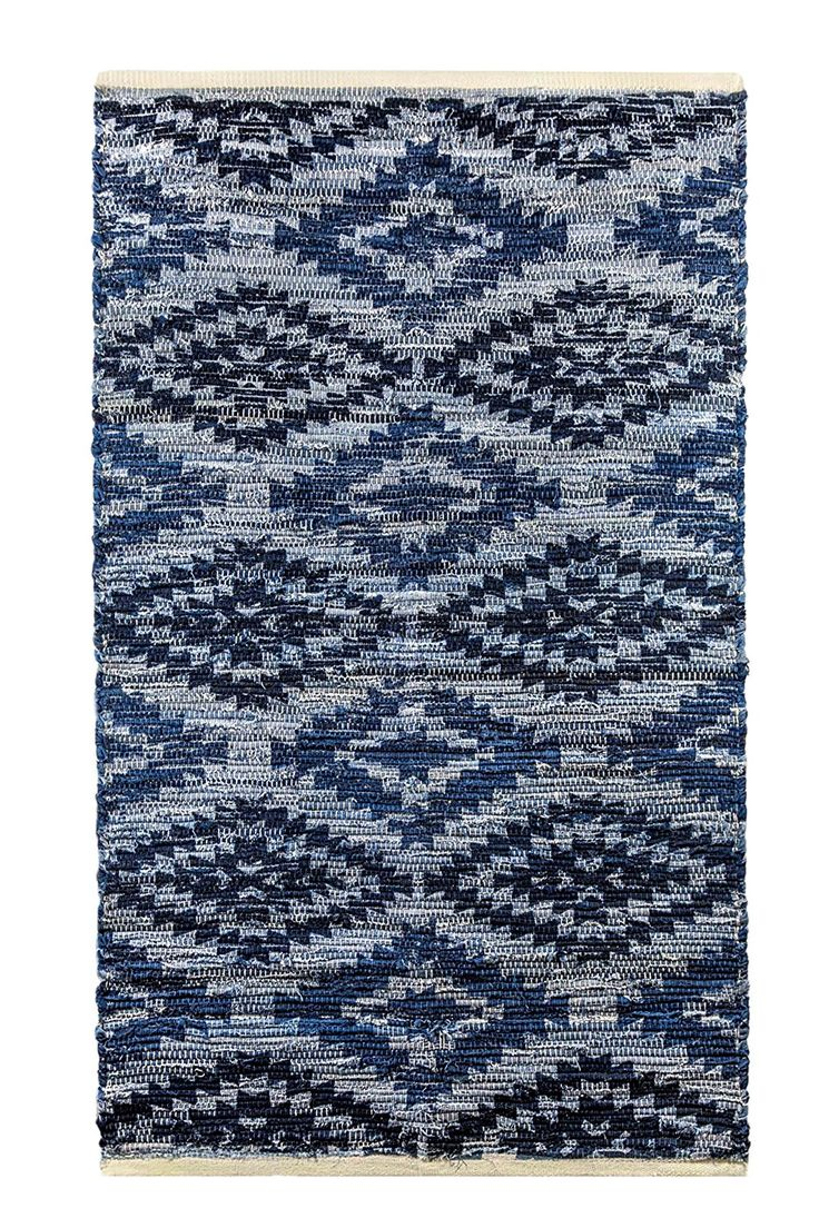 "Amazon.com : Archangel Southwestern Blue Denim Jean Handcrafted Cotton Rug Woven mat 36""x60""(3'x5') Eco Friendly Go Green - Perfect for Kitchen, Bathroom, Bedroom & Entry Way : Patio, Lawn & Garden"