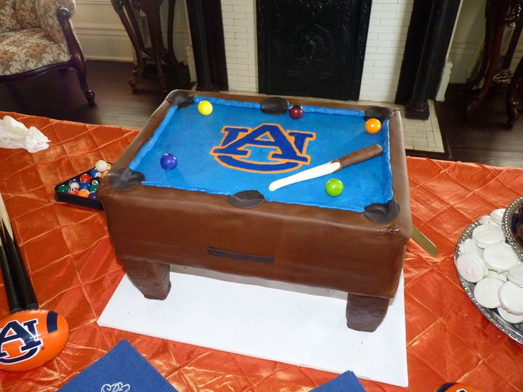 Auburn Pool Table Grooms Cake Chocolate cake iced buttercream, sides are covered in fondant. Logo is buttercream transfer. Pool stick is...