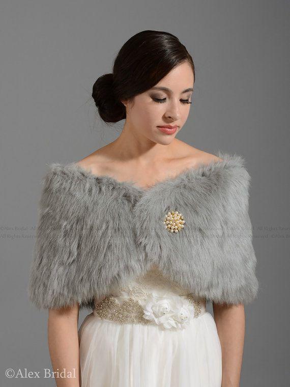Silver faux fur bridal wrap shrug stole shawl cape by alexbridal, $39.99