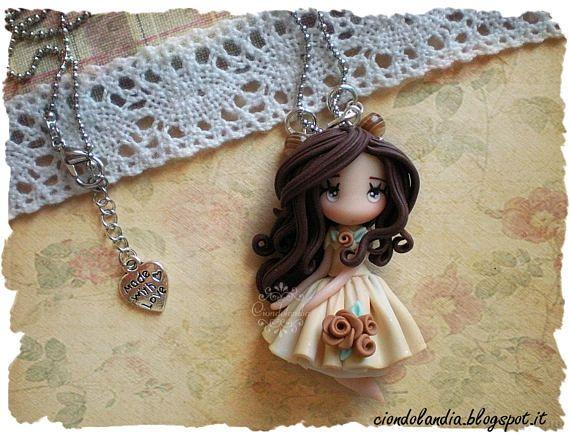 Princess doll necklace polymer clay fimo #princess #principessa #doll #chibi #kawaii #fairy #polymerclay #necklace