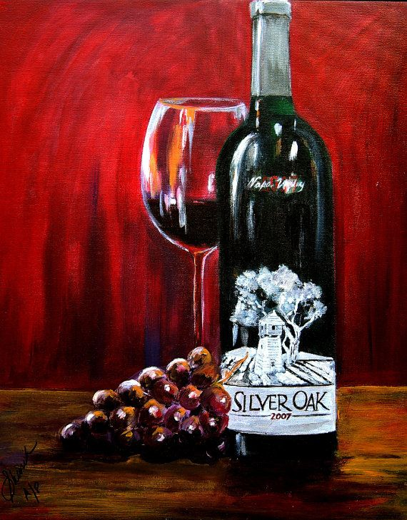 Wine art print, Silver Oak of Napa valley with grape and wine glass print on paper , kitchen art, gift for dad, gift for brother