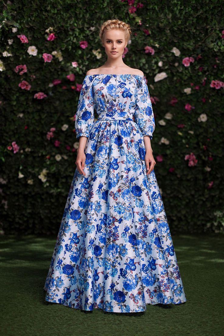 Платье «Маруся» синие цветы — 24 990 рублей